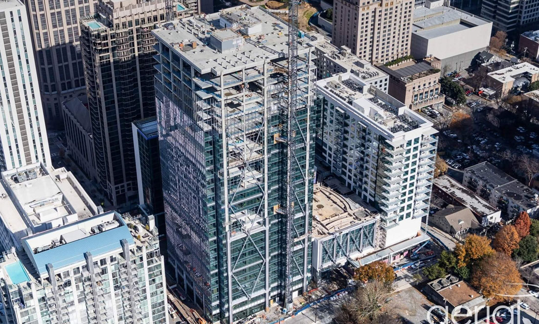 1105 West Peachtree's Tallest of Three Towers Tops Out, Is Slated For Fall 2021 Completion